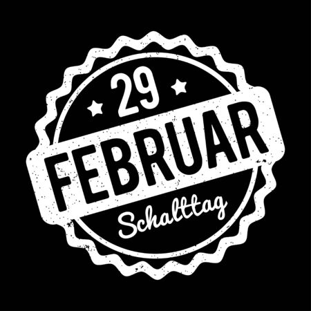 29: Leap day February 29 stamps German white on a black background. Illustration