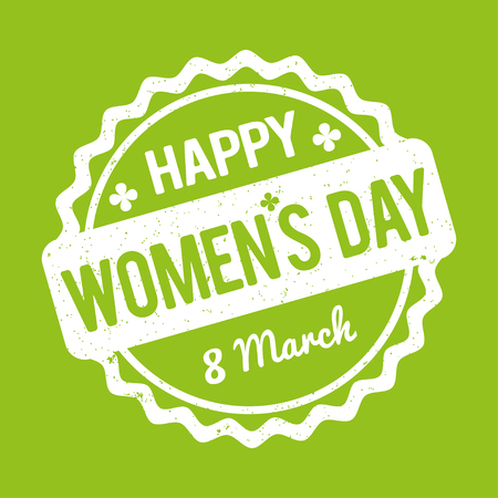 marrow: Happy Womens Day rubber stamp white on a green background.