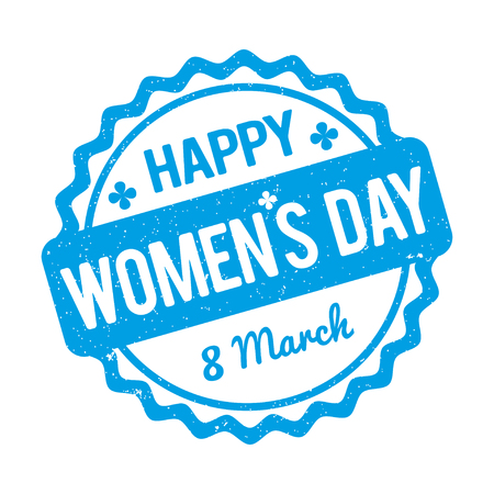 womens day: Happy Womens Day rubber stamp blue on a white background. Illustration
