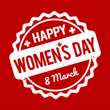 womens day: Happy Womens Day rubber stamp white on a red background.