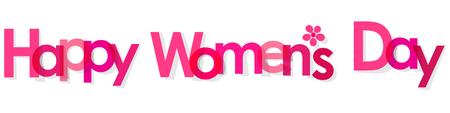 Glückliche Frauen Tages Banner rosa mit Blumen transparent auf einem weißen Hintergrund.