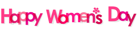 womens fashion: Happy Womens Day banner pink with Flower transparent on a white background.
