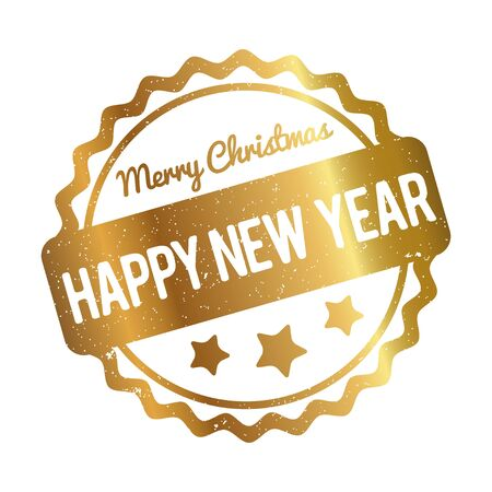 special edition: Happy New Year Merry Christmas rubber stamp award gold on white background