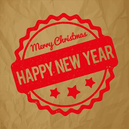 Happy New Year Merry Christmas rubber stamp award vector red on crumpled paper brown background Illustration