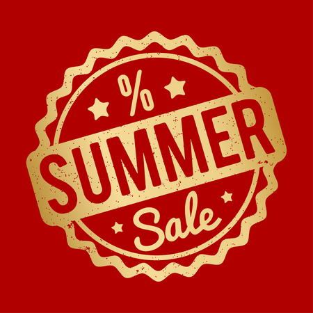 Summer sale rubber stamp on a red background.