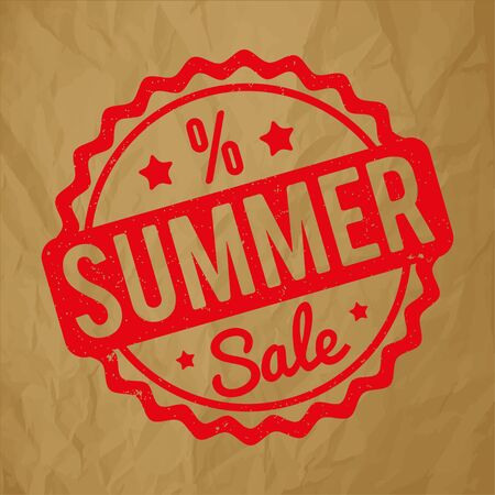 Summer sale rubber stamp on a crumpled paper brown background.