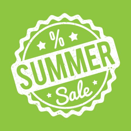 Summer Sale rubber stamp on a green abackground.