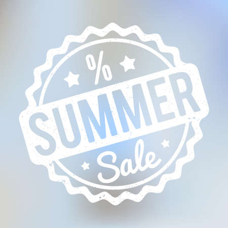 Summer Sale rubber stamp on a purple bokeh background. Illustration
