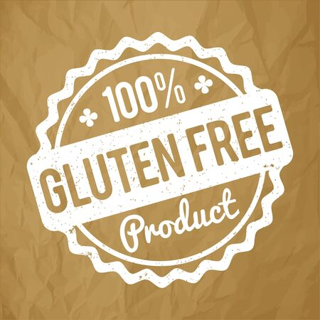 Gluten FREE Product rubber stamp on a crumpled paper brown background. Çizim