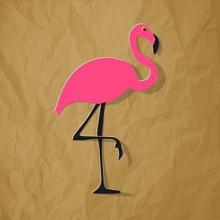 Flamingo pink on a crumpled paper brown background.