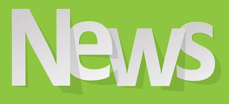 space television: News letters banner white on a green background. Illustration