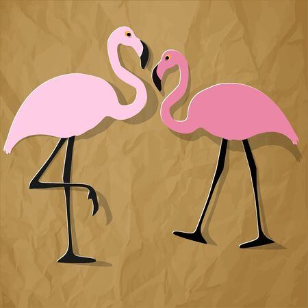 Two flamingos couple on a crumpled paper brown background.