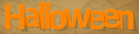 Halloween banner orange on a crumpled paper brown background.