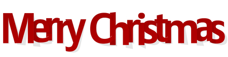 Merry Christmas banner red on a white background.