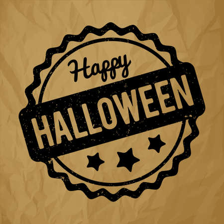 Happy Halloween rubber stamp on a crumpled paper brown background. Illustration