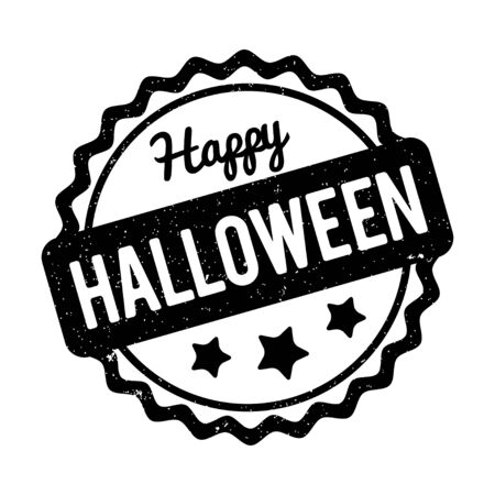 Happy Halloween rubber stamp isolated on a white background. Illustration