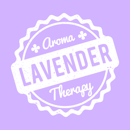 Lavender rubber stamp on a white background. Illustration