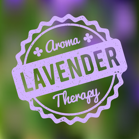 Lavender rubber stamp on a green bokeh background. Illustration