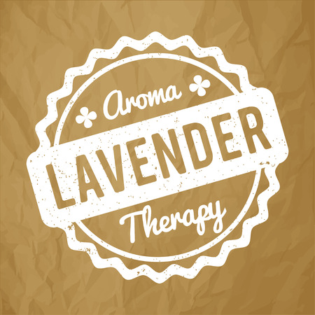 Lavender rubber stamp on a crumpled paper brown background.