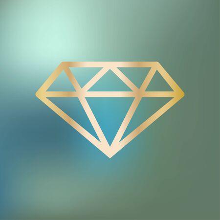 Diamond icon gold on a blue bokeh.