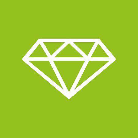White diamond icon in a green paper. Illustration
