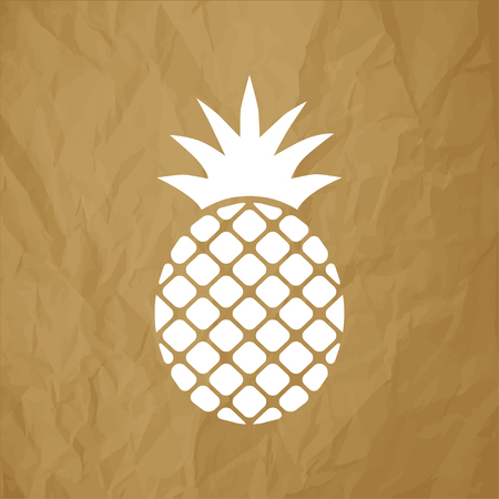 Pineapple Ananas icon white on a crumpled paper brown background. Illustration