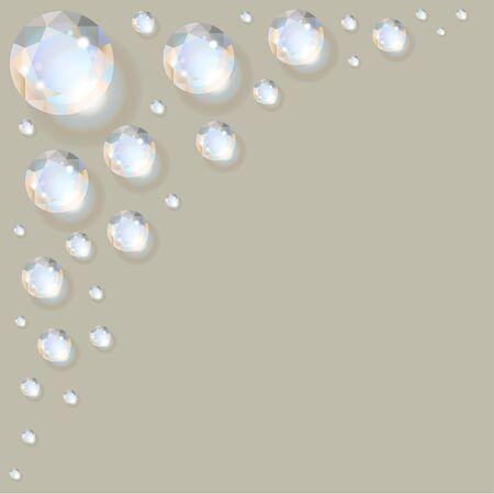 Diamonds in the corner on a grey background. Reklamní fotografie - 83633423