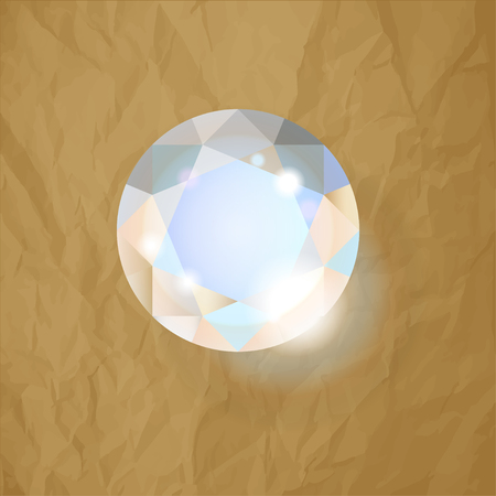 Diamond on a crumpled paper brown background Archivio Fotografico - 101205770