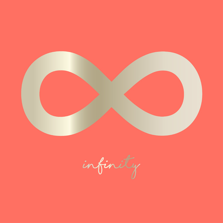 Infinity symbol on a coral colored background Illustration