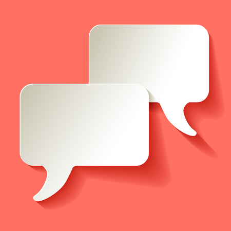 Chat speech bubbles vector white on a coral color background