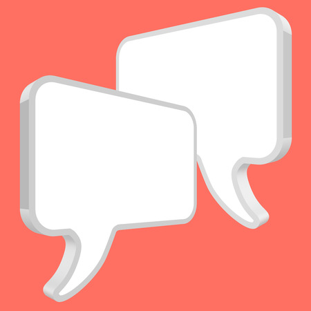 Chat speech bubbles in perspective vector white on a coral color background