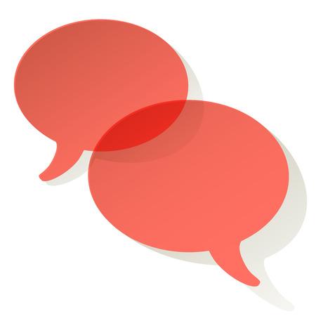 Chat speech bubbles vector ellipse Coral color transparent on a white background Illustration