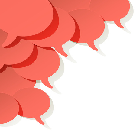 Chat speech bubble vector ellipse Coral color on a white background in the corner Illustration