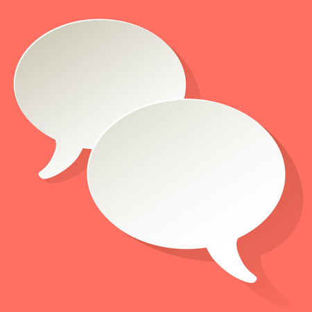 Chat speech bubbles vector ellipse white on a coral color background