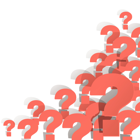 Question marks Coral color in the corner on a white background Illustration