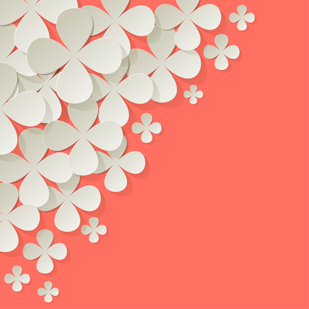 Bouquet of purple paper in the corner on a Coral color background Illustration