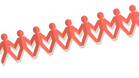 Paper fellows coral color on a white background