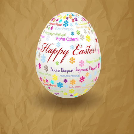 Happy Easter postcard white egg on a crumpled paper brown background