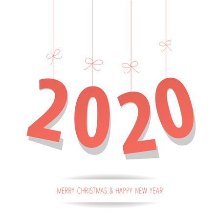 Paper 2020 digits Coral color on a white background Illustration