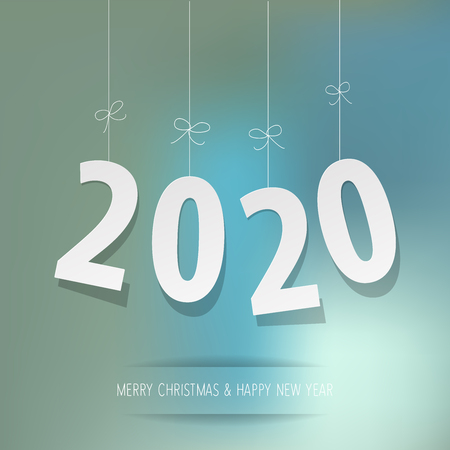 Paper 2020 digits on a blue bokeh background