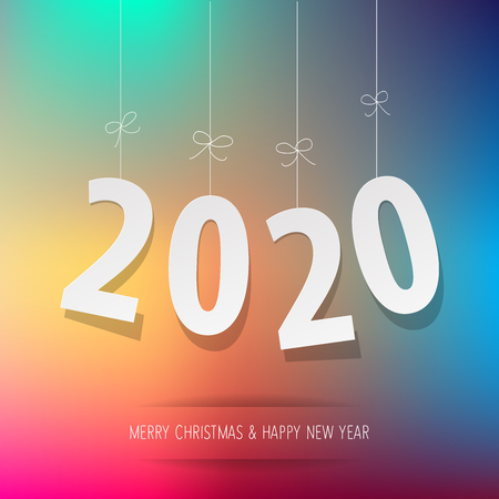 Paper 2020 digits on a rainbow background