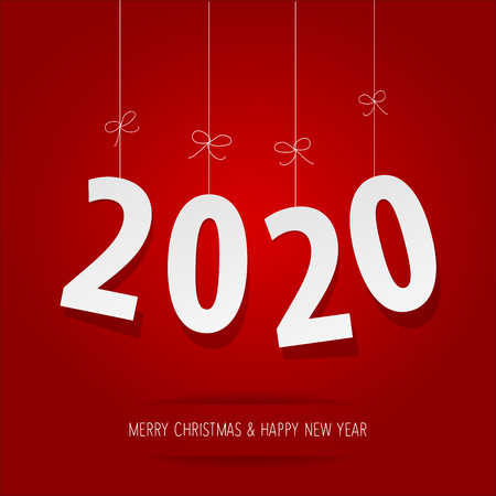 Paper 2020 digits on a red background