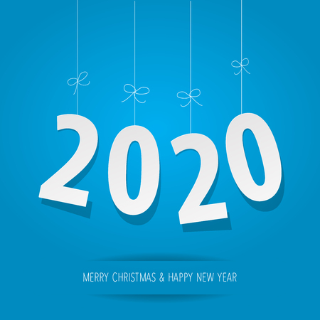 Paper 2020 digits on a blue background Banco de Imagens - 122689435