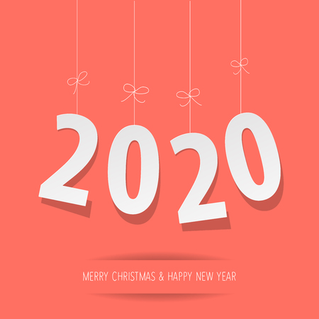 Paper 2020 digits on a Coral color background Çizim
