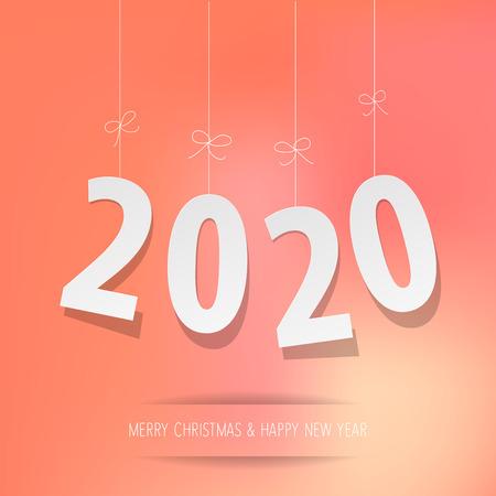 Paper 2020 digits on a coral color bokeh background Ilustração