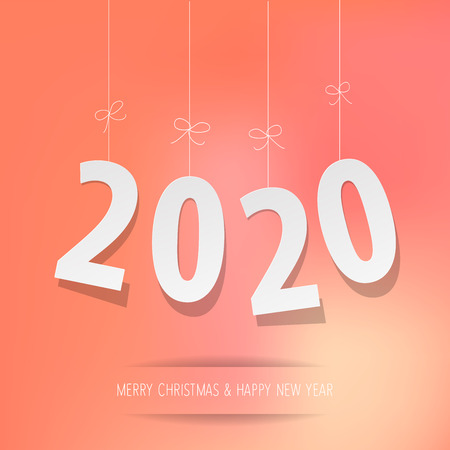 Paper 2020 digits on a coral color bokeh background Illustration