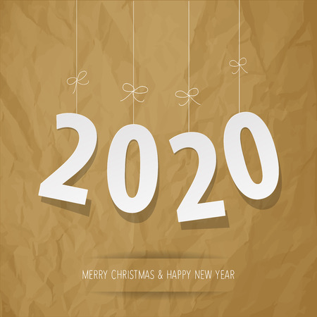 Paper 2020 digits on a crumpled paper brown background Çizim