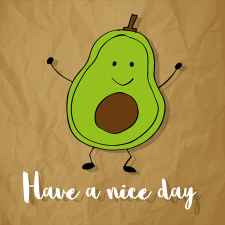 Have a nice day with avocado on a crumpled paper brown background Иллюстрация