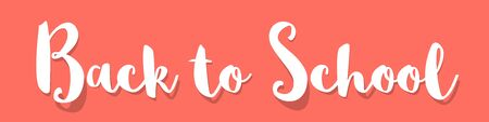 Back to school banner white on a coral color background