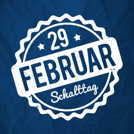 29 February Leap Day rubber stamp in German white on a 2020 Classic Blue crumpled paper background